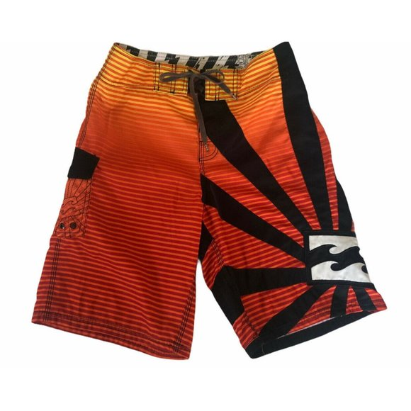 Billabong Orange & Black Striped Boardshorts Sz 30